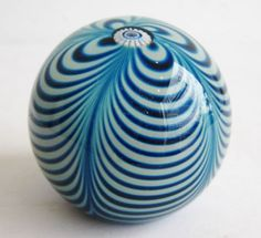 Vtg-1988-Correia-Signed-Blue-Swirl-Art-Glass-Sample-Sculpture-Paperweight