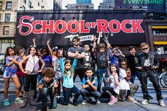 Alex Brightman and the young company of Broadway's School of Rock.