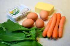 medvedí cesnak ako ingrediencia do rolády Carrots, Food And Drink, Eggs, Vegetables, Breakfast, Diet, Breakfast Cafe, Egg, Veggies