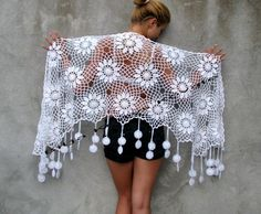 Anémona japonesa Cotton crochet shawl Women Accessories - White Flowers Large, warm and cosy sh Crochet Shawls And Wraps, Knitted Shawls, Crochet Scarves, Crochet Clothes, Cotton Crochet, Irish Crochet, Crochet Lace, Crochet Motifs, Crochet Stitches