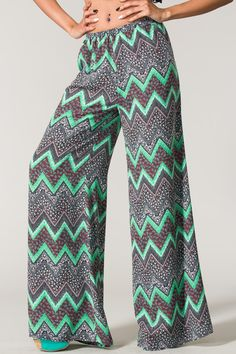 Mint Chevron Print Wide Leg Pants... Its like me. but pants...