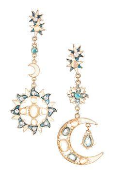 Eye Candy Los Angeles Sun & Moon Earrings. Cool boho chic earrings for only $13.97