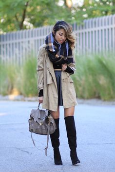 Light trench coat // How I layered a light trench coat for winter with a faux leather skirt and over-the-knee high boots
