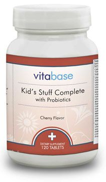 @ShopAndThinkBig.com - Provides chelated minerals for better absorption. Offers vegetarian, great-tasting cherry flavor. Provides three strains of probiotics. Has been sweetened with xylitol and luo han guo. Offers less sugar and fewer calories. http://www.shopandthinkbig.com/kids-stuff-complete-with-probiotics-vitabase-p-126.html