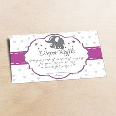 Elephant diaper raffle diaper raffle baby от LittlePartyPaper