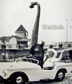 Autorama Ride Fun, 1965 - Santa Cruz Beach Boardwalk Memories-- Dangerous Dan the Dinosaur in background