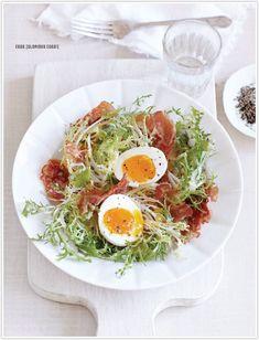 egg-cellent recipes.   Bistro Pancetta Salad  Mini Eggs Benedict  Pesto Potatoes & Eggs