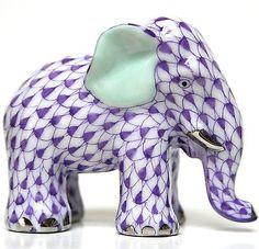 "Herend Hand Painted Porcelain Figurine ""Miniature Elephant"" Lavender Fishnet Platinum Accents."