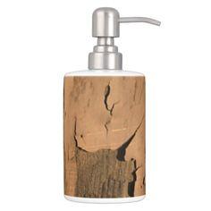 Rustic Weathered Old Peeling Paint Primitive Soap Dispenser & Toothbrush Holder