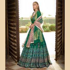 Latest Wedding Outfit Collection by Anita Dongre enhance your look by this Ethnic Fashion Green Lehenga, Indian Lehenga, Lehenga Choli, Silk Dupatta, Sharara, Churidar, Pakistani, Anita Dongre, Indian Wedding Outfits