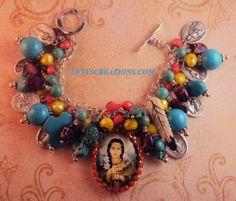 Catholic St. Kateri Tekakwitha, Saints Religious Medals Charm Bracelet