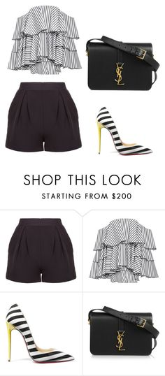"""""""ootd"""" by phamthuquynh on Polyvore featuring Caroline Constas, Christian Louboutin and Yves Saint Laurent"""
