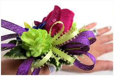 Faux Corsage - Wedding Corsage - Anniversary Corsage - Prom Corsage - Mother's Day Corsage - Fuchsia, Lime Green, Purple and Royal Blue