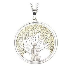 14Kt. Gold and Sterling Silver Two Tone Tree of Life Pendant - Silver (18)