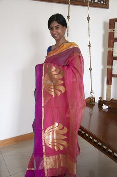 Handwoven silk-cotton Chanderi saree hand-picked from the quaint town of Chanderi. Available at www.facebook.com/omnah