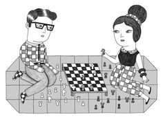 Dressing up and playing chess with my husband sounds like the perfect and intellectual summer activity.(illustration by Ana Albero) #indigo #perfectsummer
