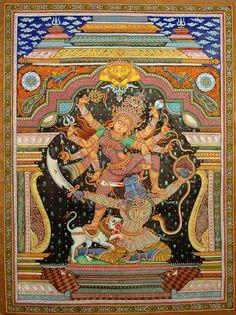 A Superfine Image of Goddess Durga, Folk Art Orissa's Paata Painting on Tussar SilkArtist Rabi Behera Spiritual Paintings, Chakra Art, Madhubani Art, Madhubani Painting, India Art, Durga Goddess, Hindu Deities, Indigenous Art, Indian Gods