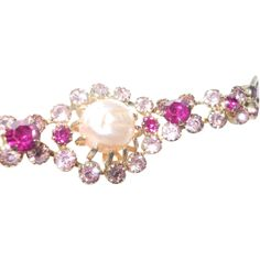 Weiss Bracelet Faux Baroque Pearls Shocking Pink and Fuchsia Stones