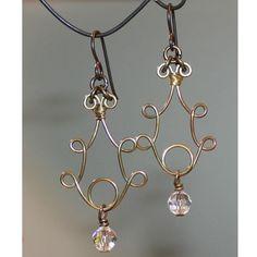 Antiqued Brass Handmade Earrings Swarovski Crystals Hypo Earwires