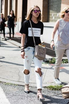 Balenciaga Harlem tee, Celine, Valentino pumps. well played girl. NYC.