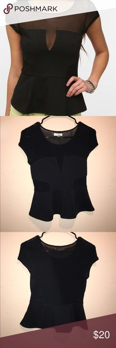 Urban outfitters peplum top Silence and noise form Urban  back is sheer with the dark peplum going around the whole top. Worn once and forgot about this. Urban Outfitters Tops Tees - Short Sleeve