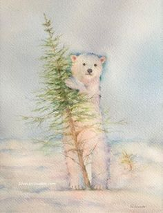 Watercolor painting of a polar bear cub in snow by animal artist, Teresa Silvestri.  Original sold, but prints and cards available.  Photo reference thanks to Jon Huyer.