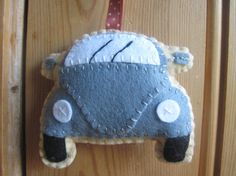 VW Beetle Plush Dark Grey Felt Toy by GracesFavours on Etsy