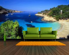 Ibiza Beach Repositionable Wall Mural by FotoWalls on Etsy. Custom Removable Wall Murals & Wall Paper. https://www.etsy.com/listing/205096879/ibiza-beach-repositionable-wall-mural-by?ref=shop_home_active_8 #interiordesign #homedecor #wallpaper #wallmurals #beach #bay #spain #ibiza #tropical