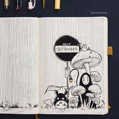 Some forest shrooms and Ghibli love for September! Always love a bit of fun at the beginning of the month :) Some forest shrooms and Ghibli love for September! Always love a bit of fun at the beginning of the month :) Bullet Journal Themes, Bullet Journal Layout, Bullet Journal Inspiration, Bullet Journals, Art Journals, Journal Covers, Journal Pages, Sketch Journal, Drawing Journal