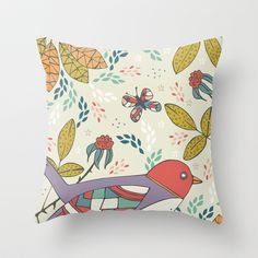 Bird and Butterfly  Throw Pillow by Anna Deegan - $20.00