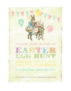 Digital PRINTABLE Vintage Celebrate EASTER Bunny Egg Hunt Birthday Tea Party Boy Girl Children Baby Shower Invitation Cards Sheet IN16