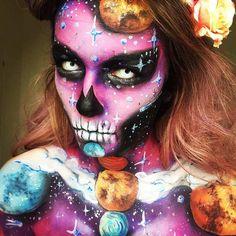 Amazing Space Skull Halloween Makeup