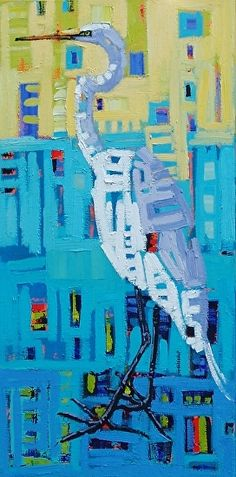 """""""Crane In The Mix,"""" by René Wiley by Rene' Wiley Gallery Oil ~ 24 x 12"""