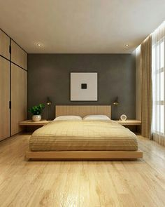 21 Wooden and Contemporary Bed Frame Ideas, Take Your Pick These DIY bed frame ideas offer exquisite designs with unique experience and comfort. Wooden, contemporary, vintage, outdoor—take your pick! Bedroom Furniture Design, Modern Bedroom Design, Master Bedroom Design, Contemporary Bedroom, Bedroom Ideas, Zen Bedroom Decor, Dream Bedroom, Modern Minimalist Bedroom, Modern Room