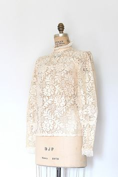 edwardian style blouse // 1970s lace blouse // by TrunkofDresses