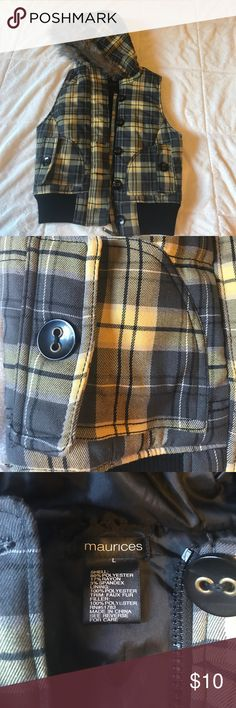 Plaid vest Yellow, gray and black plaid vest with faux fur hood. Zipper and button front with button pockets. Perfect fall fest ! Gently worn Maurices Jackets & Coats Vests