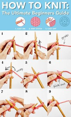 How to Knit for Beginners The Ultimate Guide Knitting boils down to three basic steps Learn how to master them in this detailed video and photo guide and begin your knitting journey howtoknit knittingforbeginners knitting Beginner Knitting Patterns, Knitting Basics, Easy Knitting Projects, Yarn Projects, Knitting For Beginners, Loom Knitting, Knitting Stitches, Free Knitting, Knitting Ideas