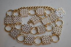 Stylish 70s Gold and White Filigree Designed by vintagefinds61, $14.00