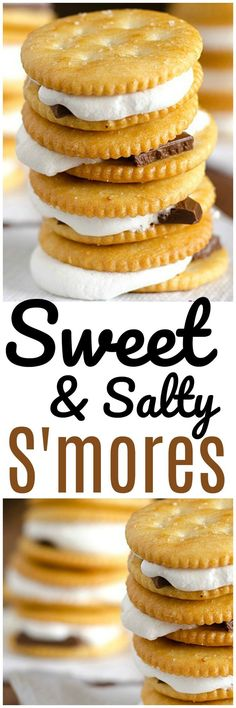 Sweet and Salty S'mores are INCREDIBLE! They're crazy easy to make last minute too! No campfire required. Bake these sweet and salty s'mores for a last minute party idea, family fun night or romantic date night at home! Sweet and salty s'mores are fun foo Sweet Recipes, Snack Recipes, Dessert Recipes, Cooking Recipes, Campfire Recipes, Campfire Desserts, Cooking Chef, Cooking Gadgets, Cooking Videos