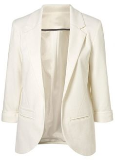 Office Lady Essential Pure White Blazer with Pockets