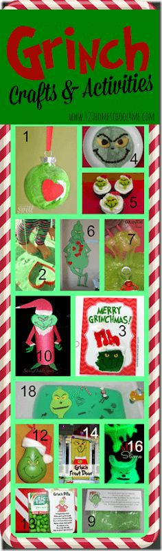 Grinch Crafts for Kids - Tons of super cute Christmas Crafts for Kids based on classic book The Grinch by Dr. These kids activities are perfect for Toddler, Preschool, Kindergarten, and elementary age kids! Lots of cute Christmas ornaments for kids Grinch Christmas Party, Grinch Party, Preschool Christmas, Christmas Crafts For Kids, Christmas Projects, Holiday Crafts, Holiday Fun, Christmas Ornaments, Homemade Christmas