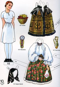 World Thinking Day - Paper Doll - Hungarian traditional costumes Costumes Around The World, Paper Dolls Printable, Dress Up Dolls, Thinking Day, Paper Toys, Paper Puppets, Vintage Paper Dolls, Girl Guides, Folk Costume