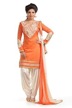 Mezona Women's Chanderi Cotton Embroidered Dress Material... http://ww
