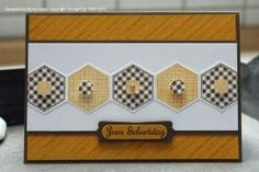 handmade card ,,, band of stamped and punched hexagons in alternating papers ... yellow and black and white ... like the formal look ... Sta...