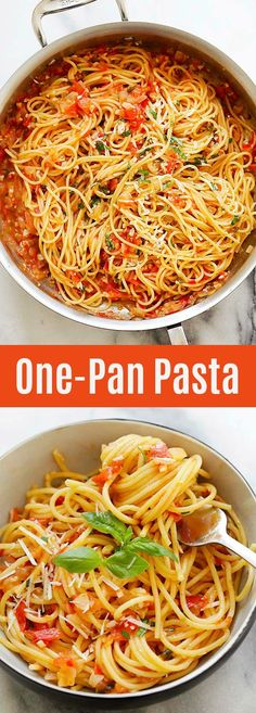 One-Pan Pasta – Quick and easy pasta recipe that takes 20 minutes to make. Throw… One-Pan Pasta – Quick and easy pasta recipe that takes 20 minutes to make. Throw all the ingredients in the pan and dinner is ready for the entire family! Healthy Pasta Recipes, Healthy Pastas, Healthy Cooking, Easy Dinner Recipes, Vegetarian Recipes, Cooking Recipes, Pasta Recipes Easy Quick, Recipes With Noodles Easy, Dutch Oven Pasta Recipes