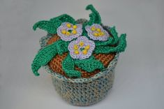 Love Flowers, Purple Flowers, Gift Flowers, Purple Flowering Plants, Potted Plants, Crochet Accessories, Crochet Flowers, Flower Pots, Bloom
