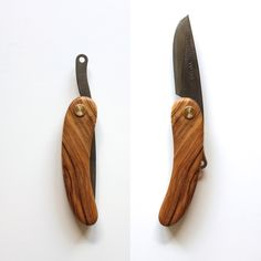 The KUT friction folding knife features a carbon steel Svörd blade made in New Zealand. Each blade is hand forged, and therefore a little different in appearance.  Handle is hand shaped from Olive wood, and features a single tension screw and small brass stop pin.   Simplicity ain't easy.  -...