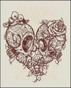 Skull Art Tattoo Drawing Beautiful Ideas For 2019 Couple Tattoos, Love Tattoos, New Tattoos, Body Art Tattoos, Tatoos, Kunst Tattoos, Bild Tattoos, Tattoo Drawings, Skull Drawings
