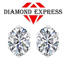 """1.25 Ct Diamond Oval Cut 14K Gold 6 Prong Stud Earrings 4x6mm """"Mother\'s Day Gift"""". Starting at $1"""