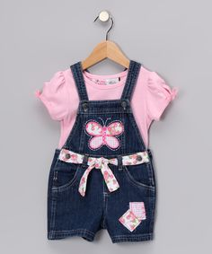 Pink Butterfly Tee and Overalls.